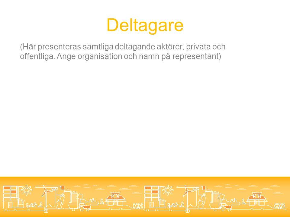 Deltagare (Här presenteras samtliga deltagande aktörer, privata och offentliga.