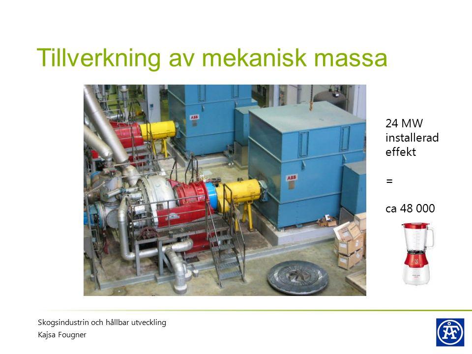 Tillverkning av mekanisk massa 24 MW installerad effekt = ca 48 000 Skogsindustrin och hållbar utveckling Kajsa Fougner
