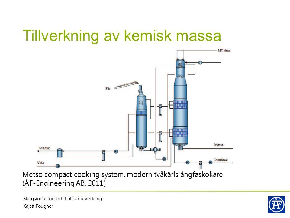 Tillverkning av kemisk massa Metso compact cooking system, modern tvåkärls ångfaskokare (ÅF-Engineering AB, 2011) Skogsindustrin och hållbar utvecklin