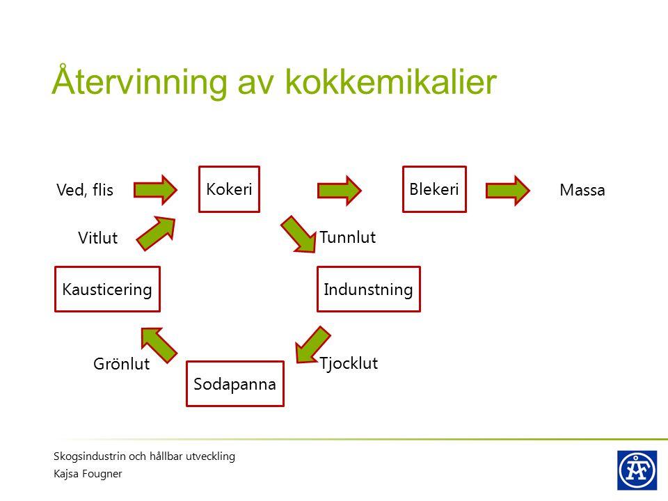 Återvinning av kokkemikalier Skogsindustrin och hållbar utveckling Kajsa Fougner Kokeri Ved, flis Blekeri Indunstning Sodapanna Kausticering Massa Tun