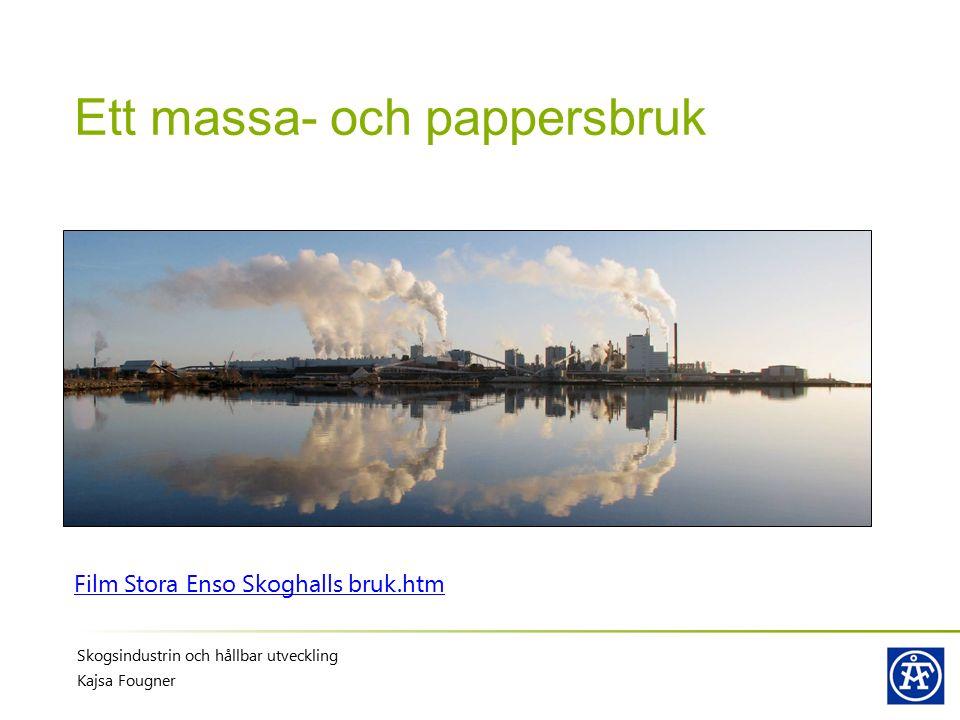 Ett massa- och pappersbruk Film Stora Enso Skoghalls bruk.htm Skogsindustrin och hållbar utveckling Kajsa Fougner