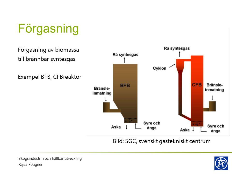 Förgasning Förgasning av biomassa till brännbar syntesgas. Exempel BFB, CFBreaktor Skogsindustrin och hållbar utveckling Kajsa Fougner Bild: SGC, sven