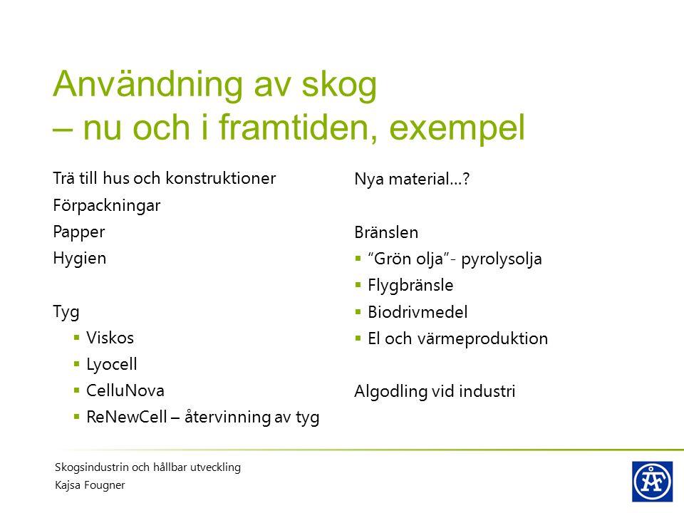 Användning av skog – nu och i framtiden, exempel Trä till hus och konstruktioner Förpackningar Papper Hygien Tyg  Viskos  Lyocell  CelluNova  ReNe
