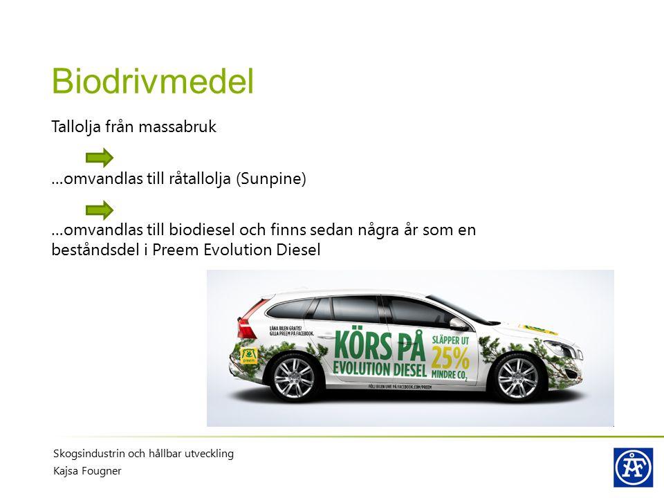 Biodrivmedel Skogsindustrin och hållbar utveckling Kajsa Fougner Tallolja från massabruk …omvandlas till råtallolja (Sunpine) …omvandlas till biodiese