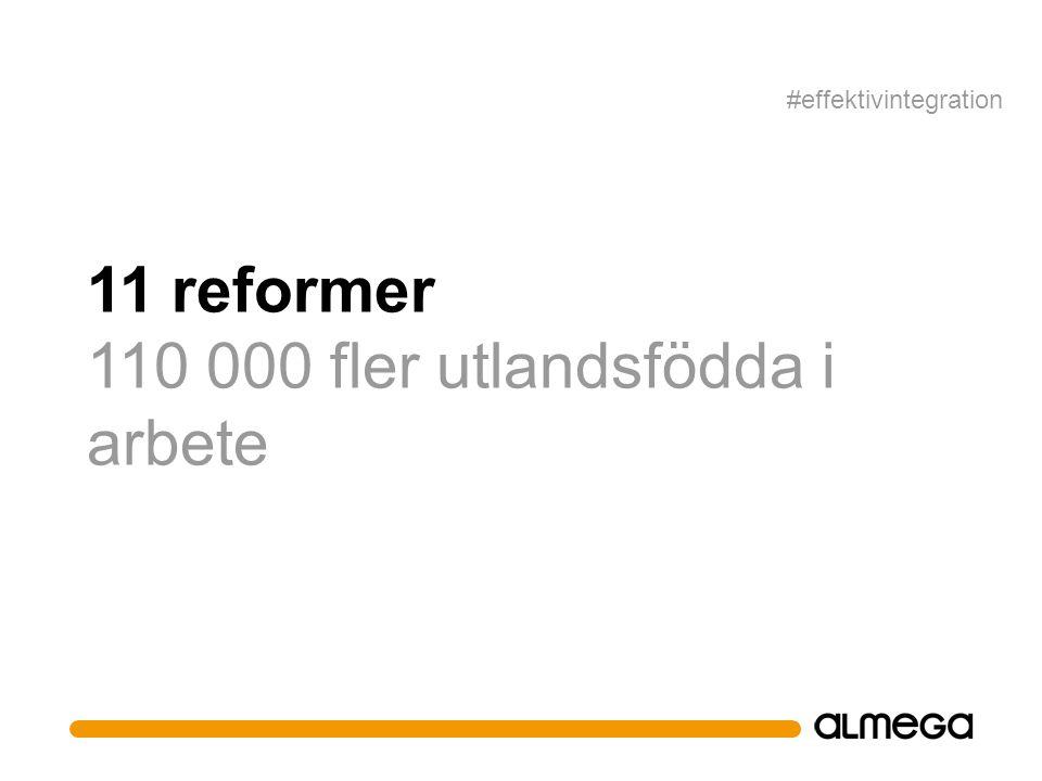 11 reformer 110 000 fler utlandsfödda i arbete #effektivintegration