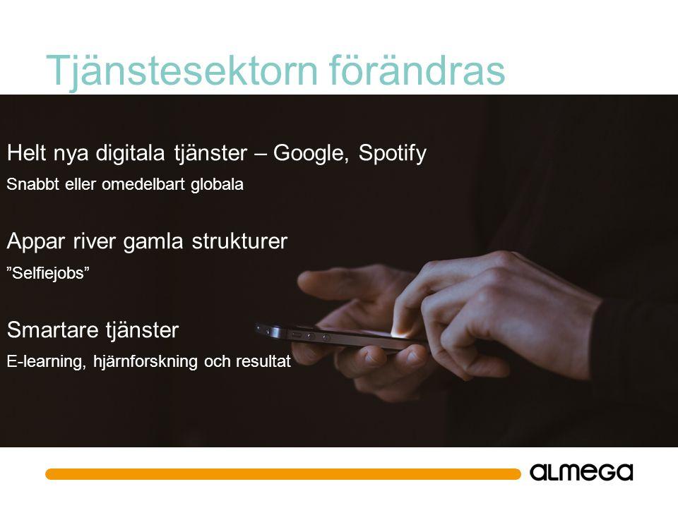 Tjänstesektorn förändras Helt nya digitala tjänster – Google, Spotify Snabbt eller omedelbart globala Appar river gamla strukturer Selfiejobs Smartare tjänster E-learning, hjärnforskning och resultat