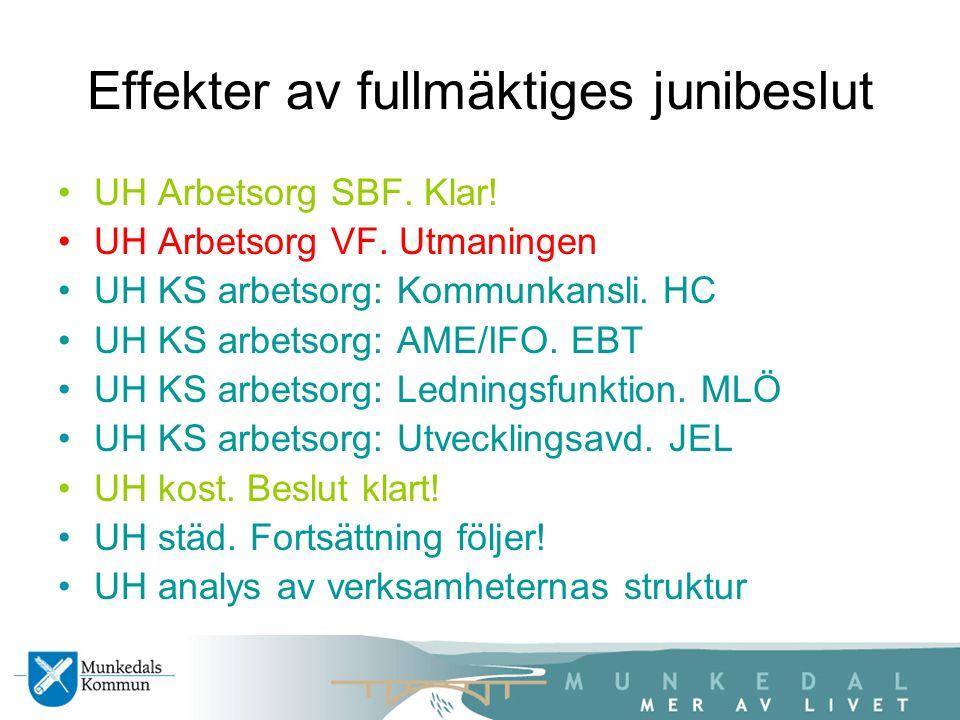Effekter av fullmäktiges junibeslut UH Arbetsorg SBF.