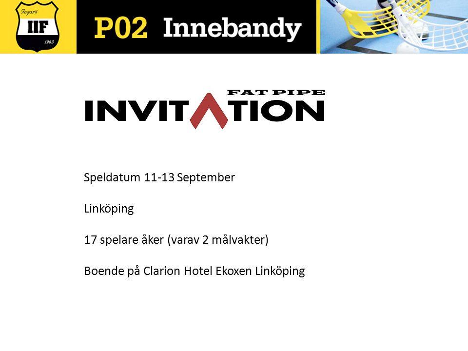 Speldatum 11-13 September Linköping 17 spelare åker (varav 2 målvakter) Boende på Clarion Hotel Ekoxen Linköping