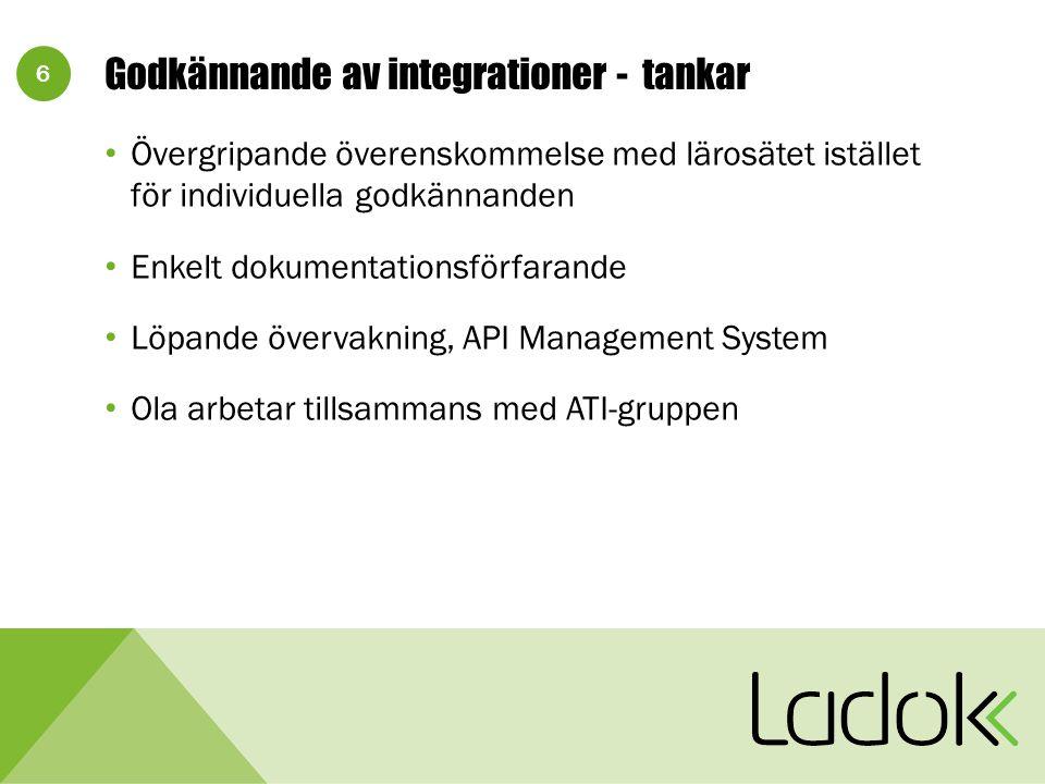 6 Godkännande av integrationer - tankar Övergripande överenskommelse med lärosätet istället för individuella godkännanden Enkelt dokumentationsförfarande Löpande övervakning, API Management System Ola arbetar tillsammans med ATI-gruppen