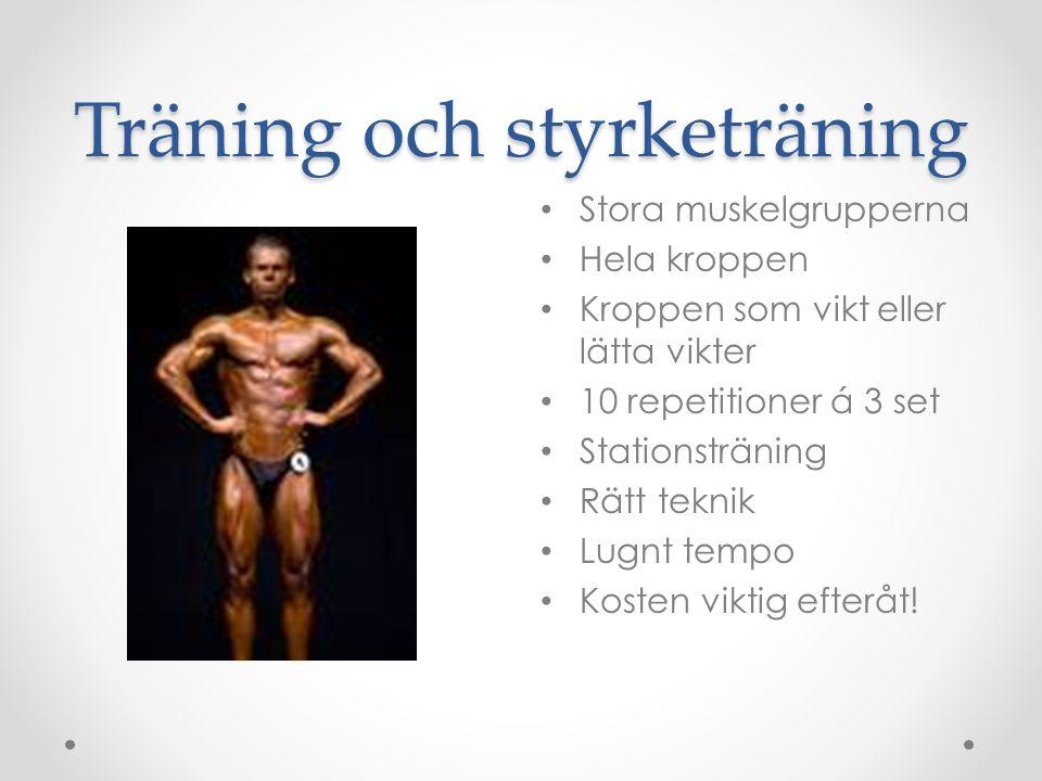 Träning och styrketräning Stora muskelgrupperna Hela kroppen Kroppen som vikt eller lätta vikter 10 repetitioner á 3 set Stationsträning Rätt teknik L