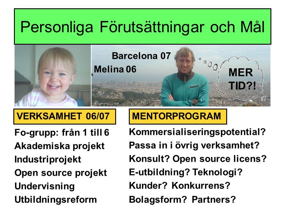 Personliga Förutsättningar och Mål Kommersialiseringspotential.