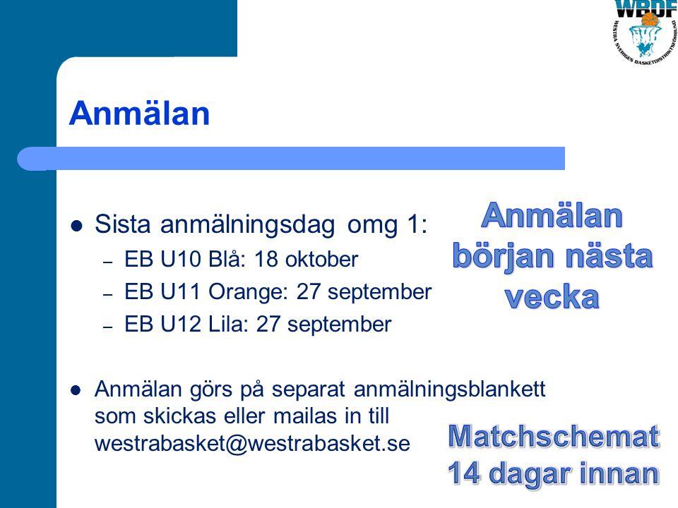 Anmälan Sista anmälningsdag omg 1: – EB U10 Blå: 18 oktober – EB U11 Orange: 27 september – EB U12 Lila: 27 september Anmälan görs på separat anmälningsblankett som skickas eller mailas in till westrabasket@westrabasket.se