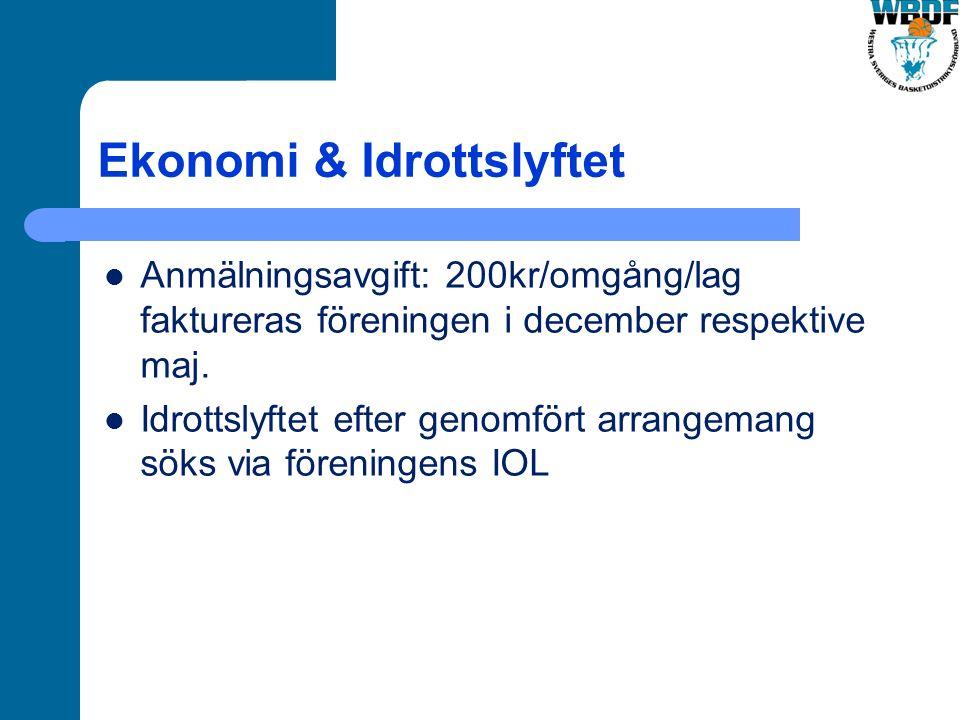 Ekonomi & Idrottslyftet Anmälningsavgift: 200kr/omgång/lag faktureras föreningen i december respektive maj.