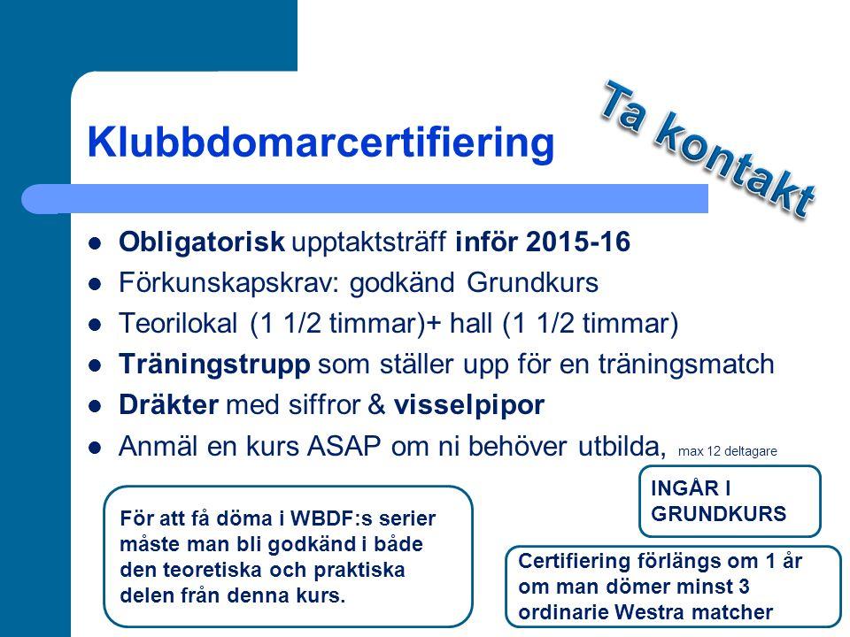 Klubbdomarcertifiering Obligatorisk upptaktsträff inför 2015-16 Förkunskapskrav: godkänd Grundkurs Teorilokal (1 1/2 timmar)+ hall (1 1/2 timmar) Träningstrupp som ställer upp för en träningsmatch Dräkter med siffror & visselpipor Anmäl en kurs ASAP om ni behöver utbilda, max 12 deltagare För att få döma i WBDF:s serier måste man bli godkänd i både den teoretiska och praktiska delen från denna kurs.