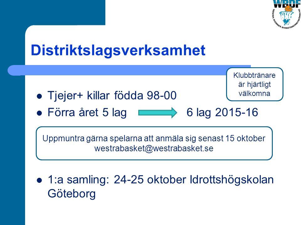 Distriktslagsverksamhet Tjejer+ killar födda 98-00 Förra året 5 lag 6 lag 2015-16 1:a samling: 24-25 oktober Idrottshögskolan Göteborg Uppmuntra gärna