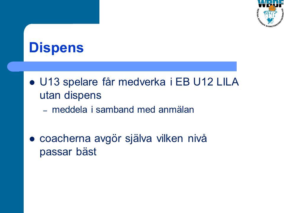 Dispens U13 spelare får medverka i EB U12 LILA utan dispens – meddela i samband med anmälan coacherna avgör själva vilken nivå passar bäst
