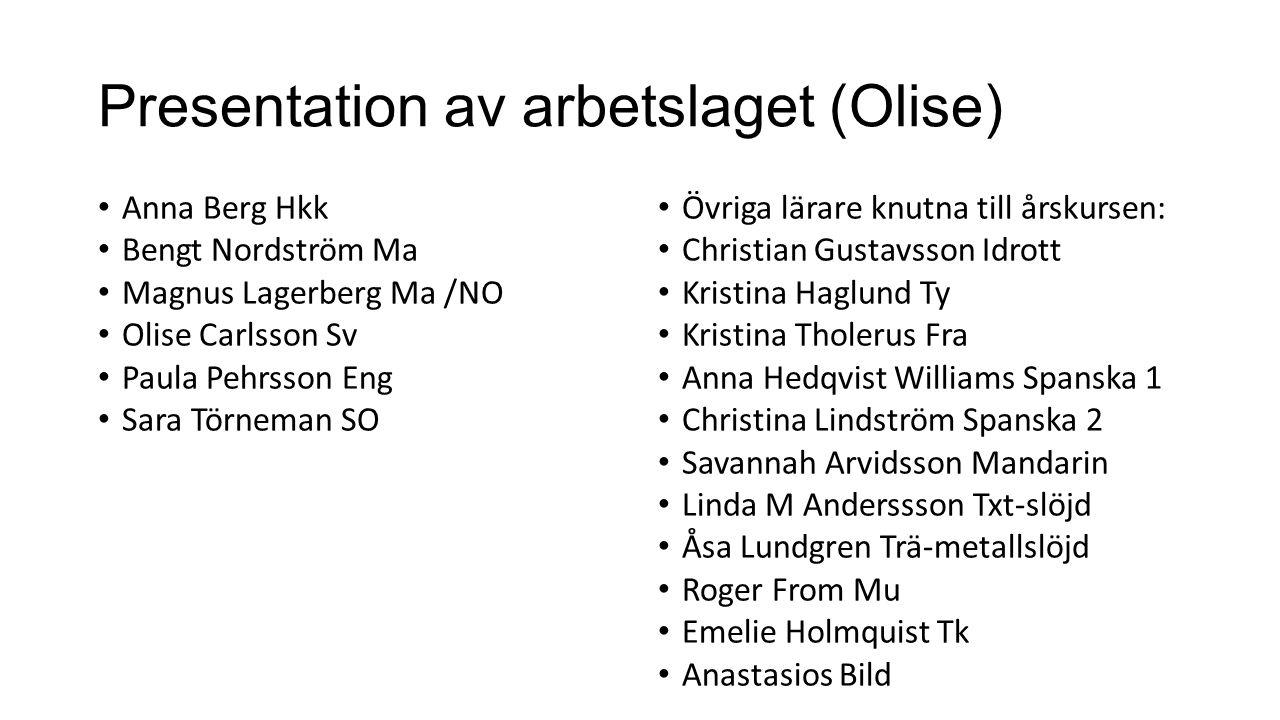 Presentation av arbetslaget (Olise) Anna Berg Hkk Bengt Nordström Ma Magnus Lagerberg Ma /NO Olise Carlsson Sv Paula Pehrsson Eng Sara Törneman SO Övr