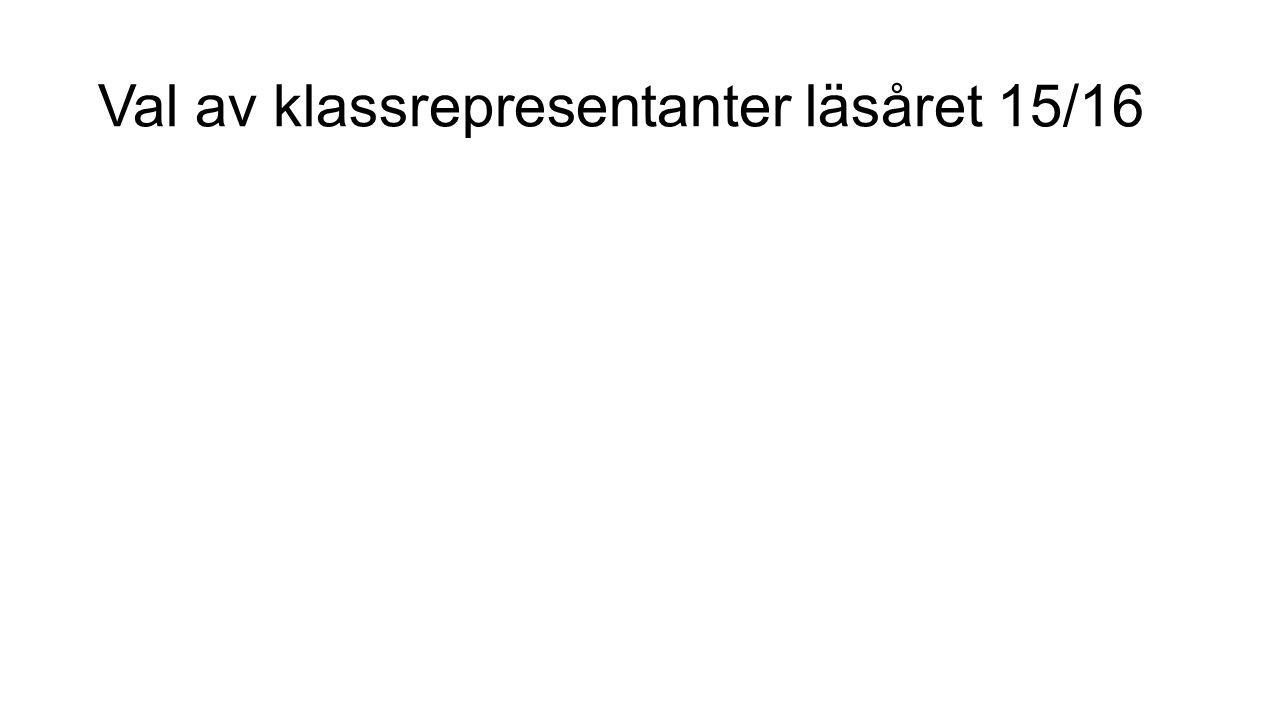 Val av klassrepresentanter läsåret 15/16