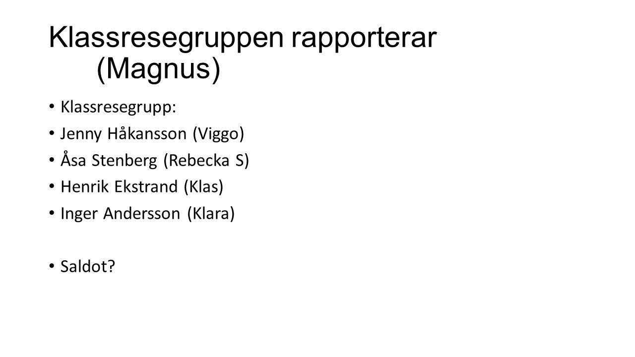 Klassresegruppen rapporterar (Magnus) Klassresegrupp: Jenny Håkansson (Viggo) Åsa Stenberg (Rebecka S) Henrik Ekstrand (Klas) Inger Andersson (Klara)