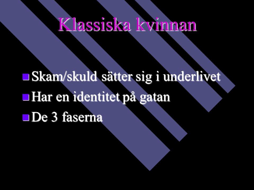 Klassiska kvinnan Skam/skuld sätter sig i underlivet Skam/skuld sätter sig i underlivet Har en identitet på gatan Har en identitet på gatan De 3 faserna De 3 faserna