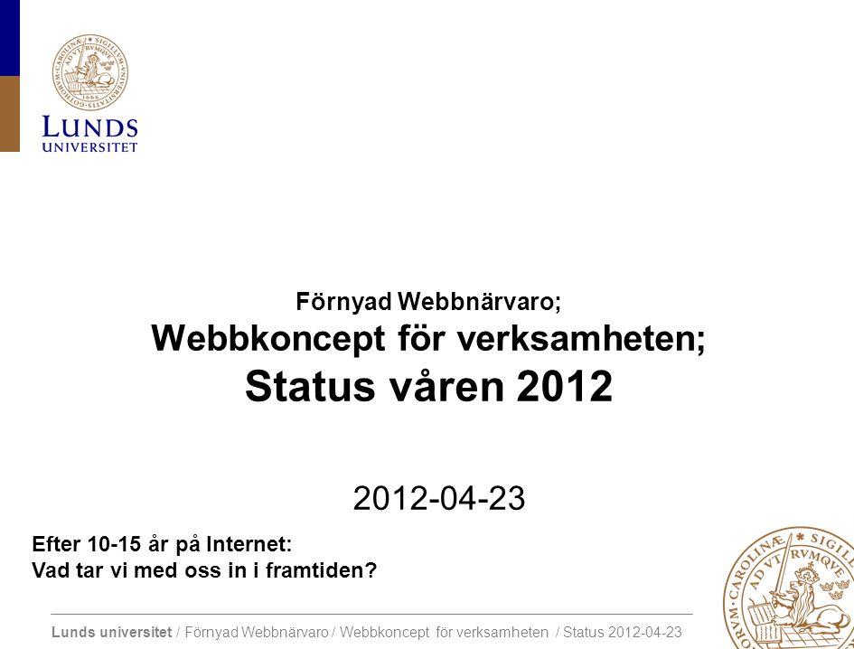 Lunds universitet / Förnyad Webbnärvaro / Webbkoncept för verksamheten / Status 2012-04-23 1000 tack för insatserna.