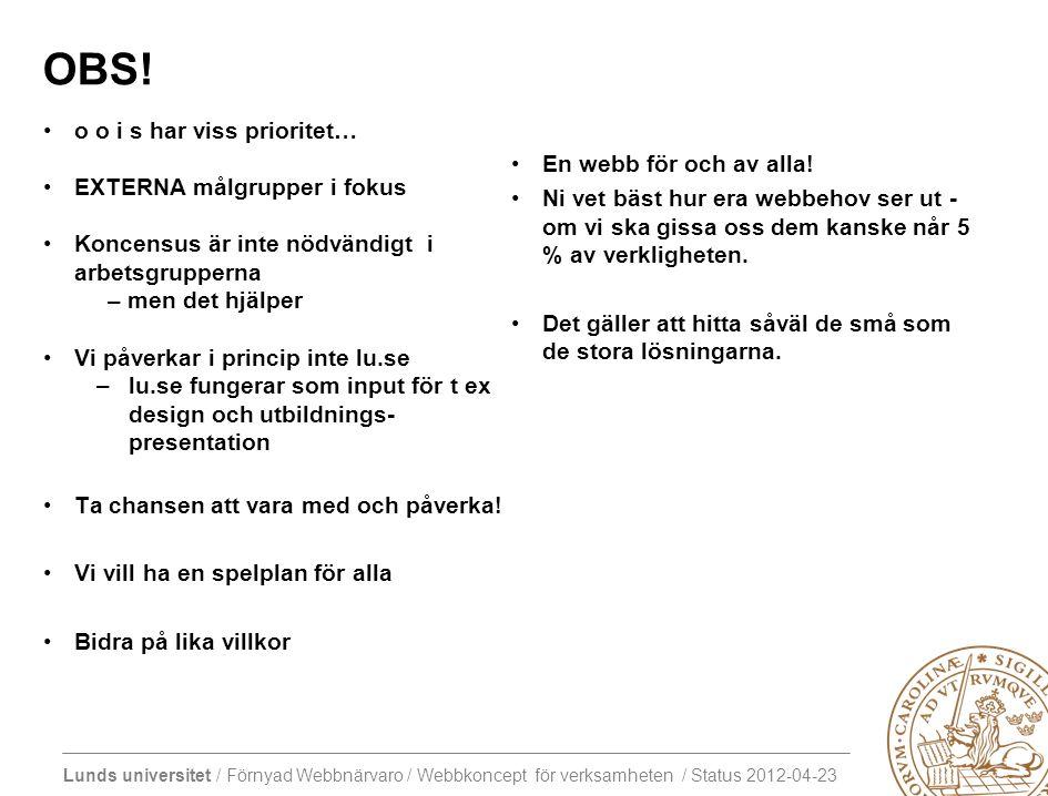 Lunds universitet / Förnyad Webbnärvaro / Webbkoncept för verksamheten / Status 2012-04-23 OBS.