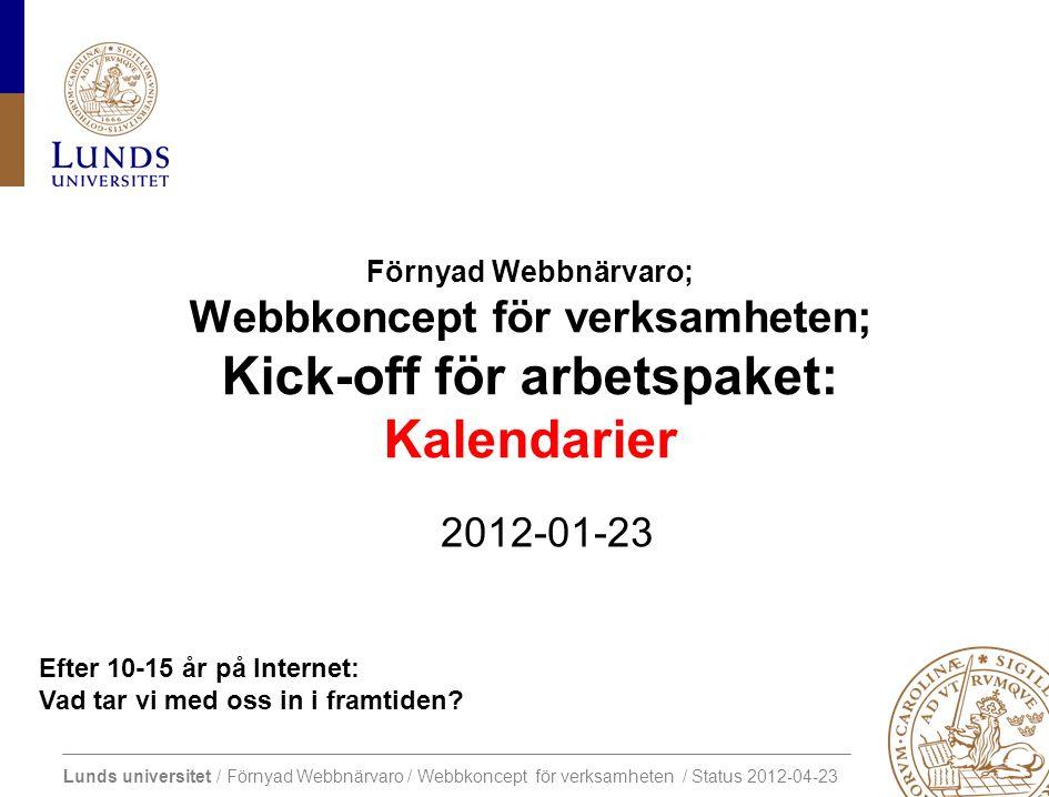 Lunds universitet / Förnyad Webbnärvaro / Webbkoncept för verksamheten / Status 2012-04-23 Efter 10-15 år på Internet: Vad tar vi med oss in i framtiden.