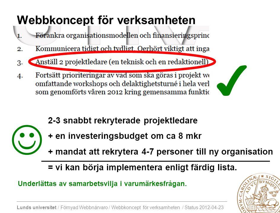 Lunds universitet / Förnyad Webbnärvaro / Webbkoncept för verksamheten / Status 2012-04-23 Vad hände mellan 15/12 och den 16/1 Workshop-deltagare: -Förankrar eventuellt sitt åtagande på hemmaplan -Reflekterar över behovsinventering 2011(.xls) -Reflekterar över innehållet i detta dokument -Diskuterar med kollegor och lika-/oliksinnade Projektet: Genomfört: -Bearbetar fram nya beskrivningar (om möjligt i samverkan med koordinatorer) -Publicera film från dagens introduktion -Sätter upp och etablerar arbetsytor i wiki.webb.lu.se (http://www3.lu.se/info/luwiki/index.php/Webbkoncept_för_verksamheten) -Förnyar inbjudan till den 16/1 och vårens arbete (ny doodle?) -Försöker lura till sig någon dags ledighet över julen Pågår tills vidare: -Avvaktar åtagande från de som inte kunnat ge besked Marginellt påbörjat  : -Förbereder: -Node One -Styrning och Stöd -LDC