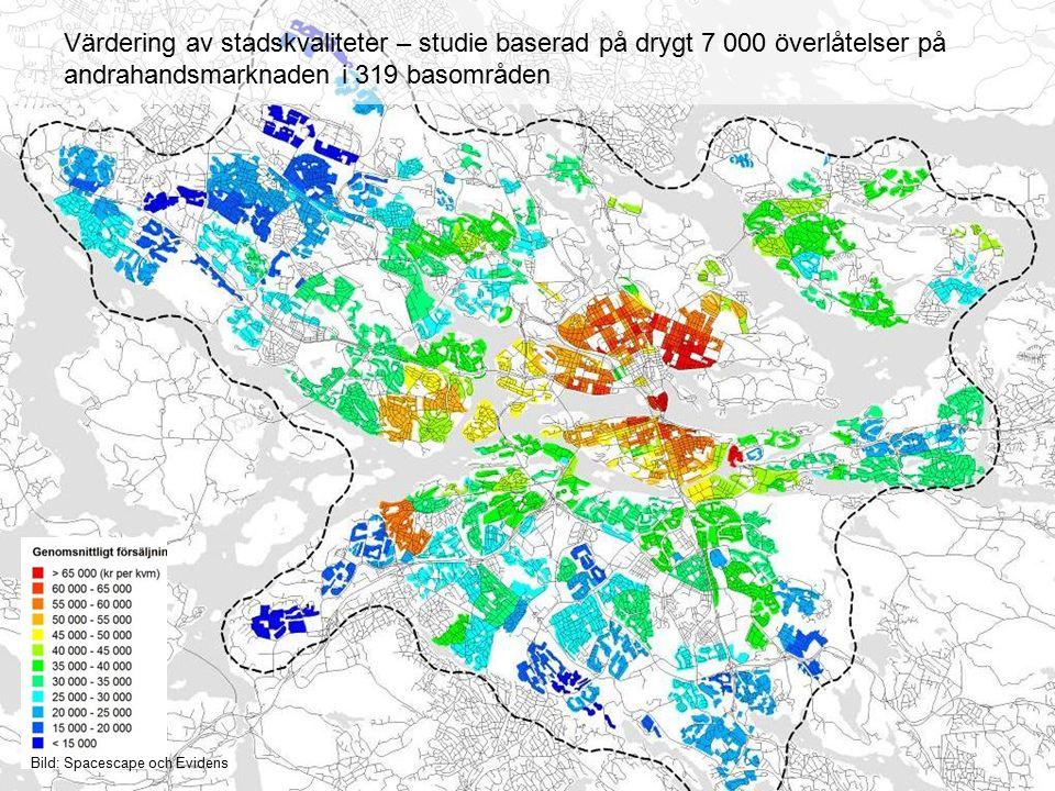 17 Strategi Kantarellen Presentation 2015-05-04 Värdering av stadskvaliteter – studie baserad på drygt 7 000 överlåtelser på andrahandsmarknaden i 319 basområden Bild: Spacescape och Evidens