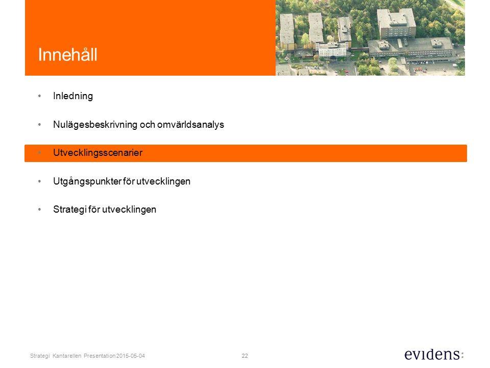22 Strategi Kantarellen Presentation 2015-05-04 Innehåll Inledning Nulägesbeskrivning och omvärldsanalys Utvecklingsscenarier Utgångspunkter för utvecklingen Strategi för utvecklingen