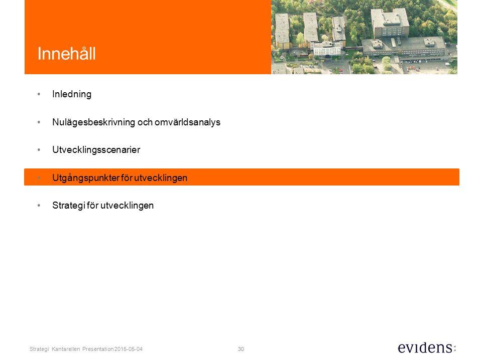 30 Strategi Kantarellen Presentation 2015-05-04 Innehåll Inledning Nulägesbeskrivning och omvärldsanalys Utvecklingsscenarier Utgångspunkter för utvecklingen Strategi för utvecklingen