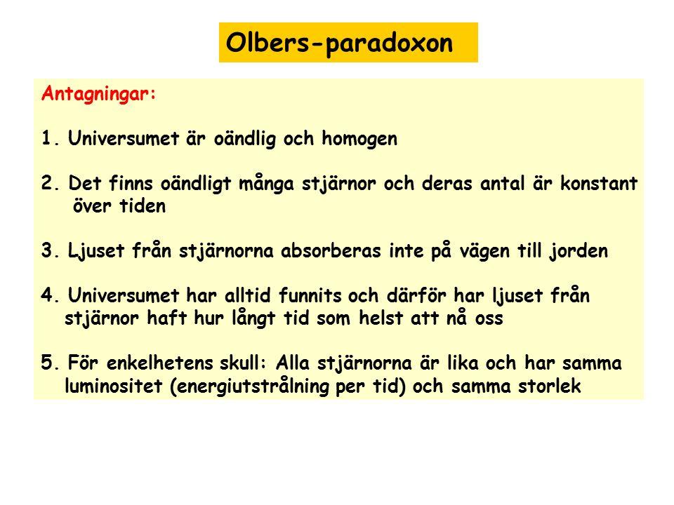 Olbers-paradoxon Antagningar: 1. Universumet är oändlig och homogen 2. Det finns oändligt många stjärnor och deras antal är konstant över tiden 3. Lju