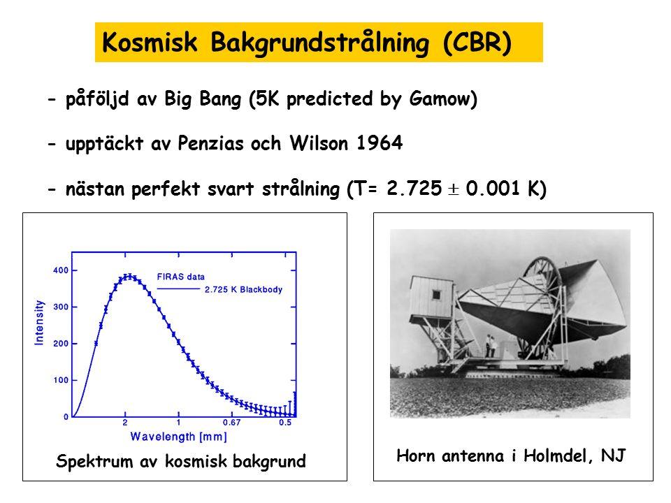 Kosmisk Bakgrundstrålning (CBR) Horn antenna i Holmdel, NJ Spektrum av kosmisk bakgrund - påföljd av Big Bang (5K predicted by Gamow) - upptäckt av Pe