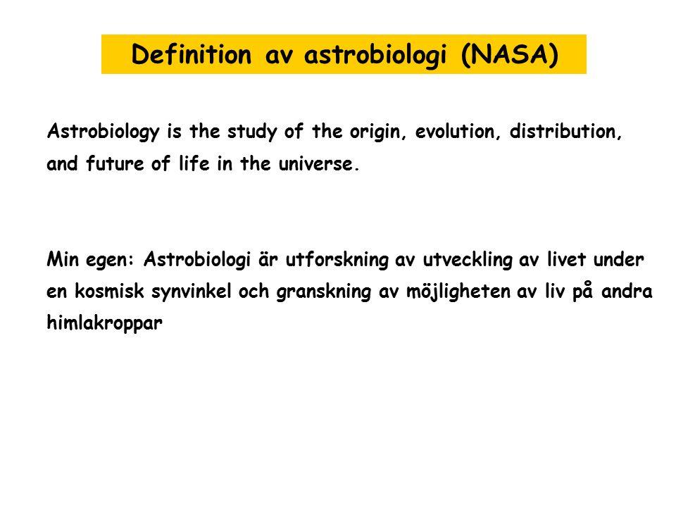 3 stora delar av astrobiologi - Utvecklingen av livets molekulära och atomära byggstenar i universumet - Utvecklingen av livet på jorden och kosmisk inflytande på det - Utforskningen av möjligheten av utomjordisk liv Vilka discipliner är engagerade .