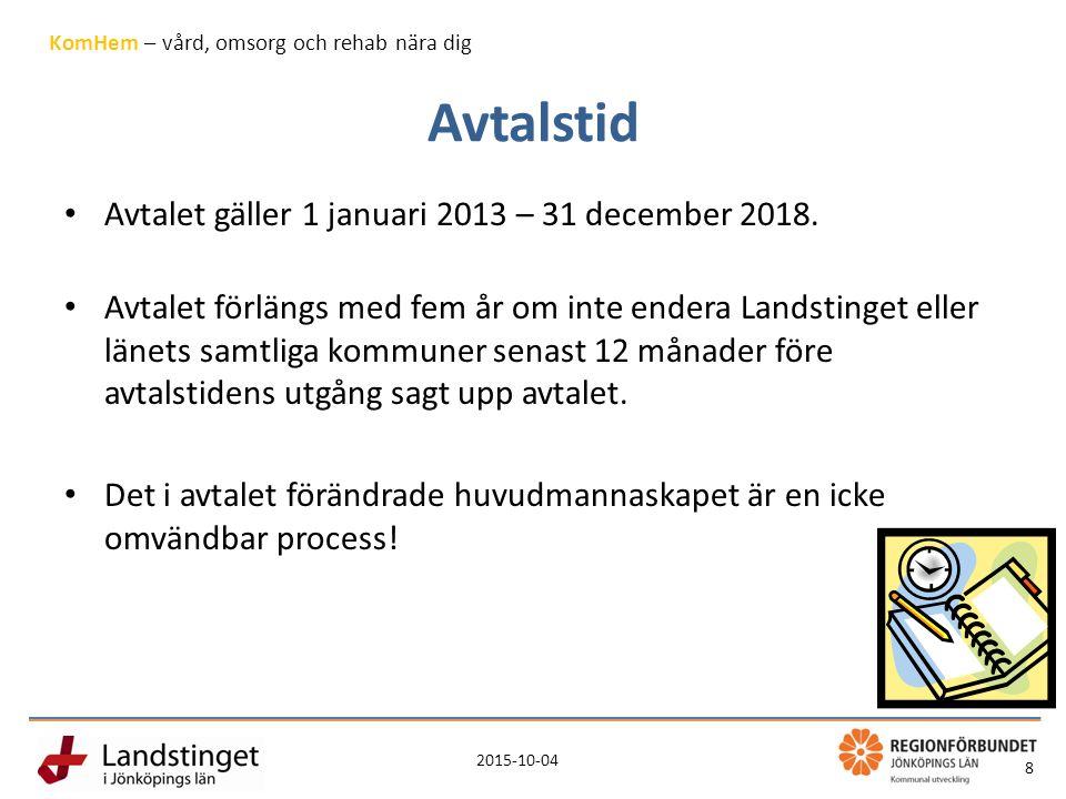 2015-10-04 8 KomHem – vård, omsorg och rehab nära dig Avtalstid Avtalet gäller 1 januari 2013 – 31 december 2018.