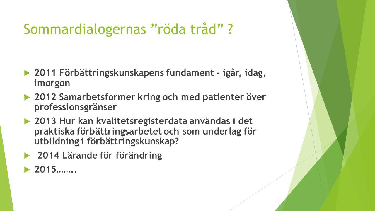 """Sommardialogernas """"röda tråd"""" ?  2011 Förbättringskunskapens fundament – igår, idag, imorgon  2012 Samarbetsformer kring och med patienter över prof"""
