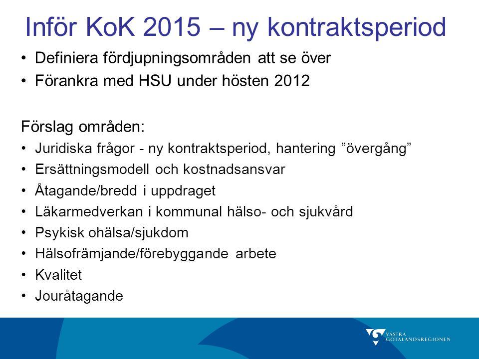 Inför KoK 2015 – ny kontraktsperiod Definiera fördjupningsområden att se över Förankra med HSU under hösten 2012 Förslag områden: Juridiska frågor - n