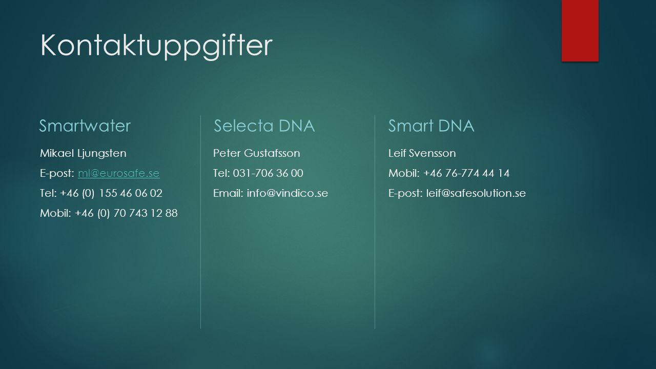 Kontaktuppgifter Smartwater Mikael Ljungsten E-post: ml@eurosafe.seml@eurosafe.se Tel: +46 (0) 155 46 06 02 Mobil: +46 (0) 70 743 12 88 Selecta DNA Pe
