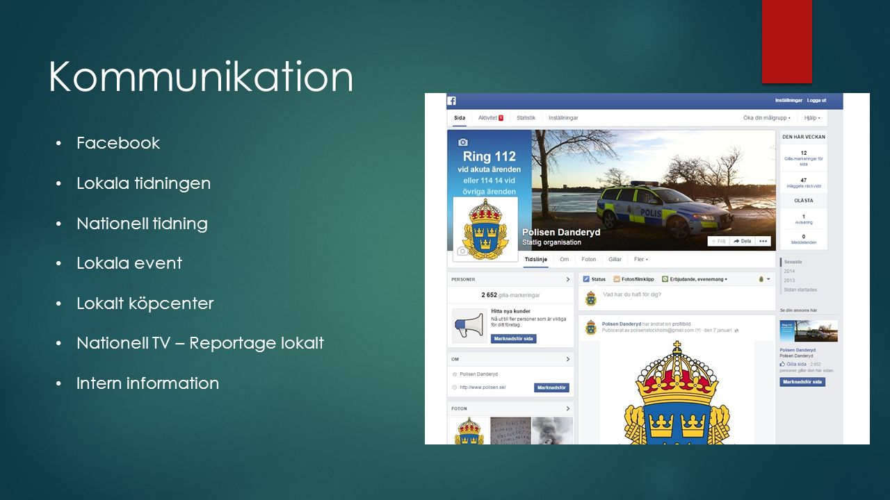 Kommunikation Facebook Lokala tidningen Nationell tidning Lokala event Lokalt köpcenter Nationell TV – Reportage lokalt Intern information