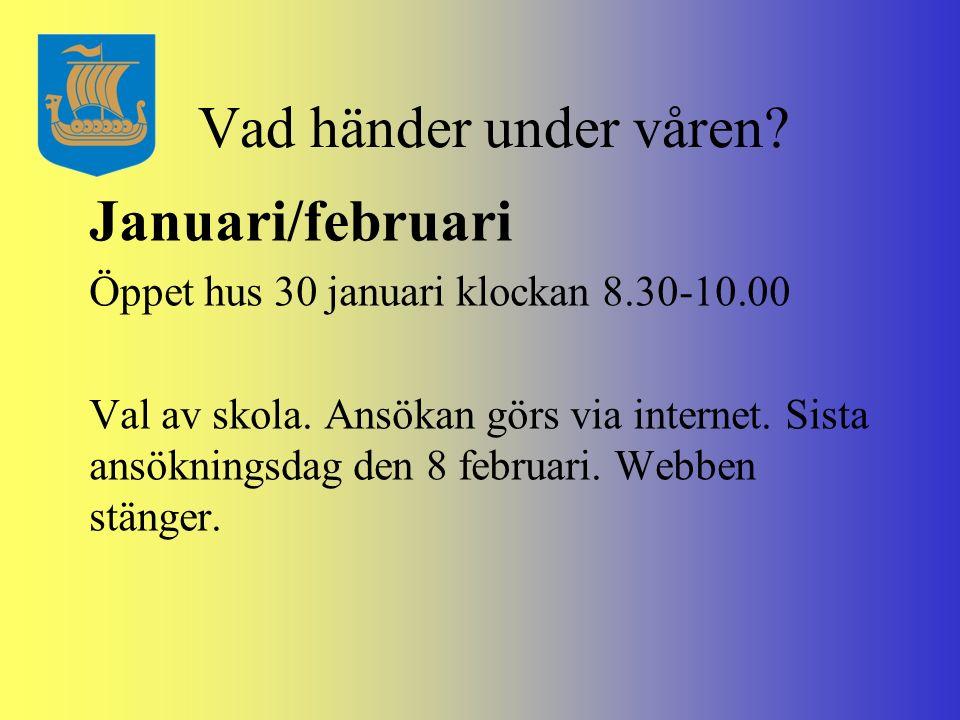 Vad händer under våren? Januari/februari Öppet hus 30 januari klockan 8.30-10.00 Val av skola. Ansökan görs via internet. Sista ansökningsdag den 8 fe