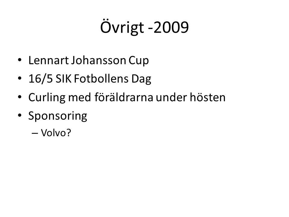 Övrigt -2009 Lennart Johansson Cup 16/5 SIK Fotbollens Dag Curling med föräldrarna under hösten Sponsoring – Volvo?