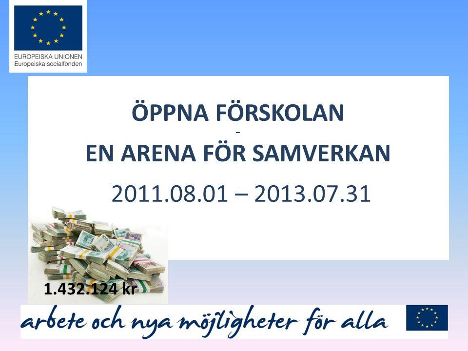 ÖPPNA FÖRSKOLAN – EN ARENA FÖR SAMVERKAN 2011.08.01 – 2013.07.31 1.432.124 kr