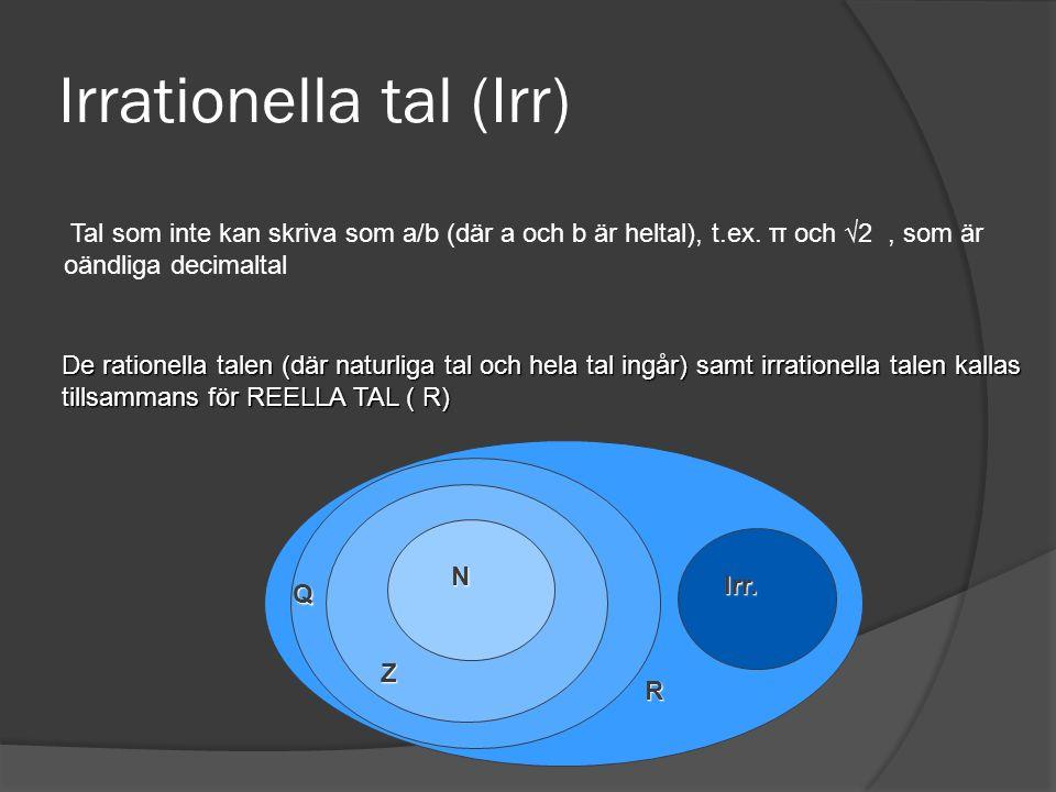 Irrationella tal (Irr) Tal som inte kan skriva som a/b (där a och b är heltal), t.ex. π och √2, som är oändliga decimaltal De rationella talen (där na