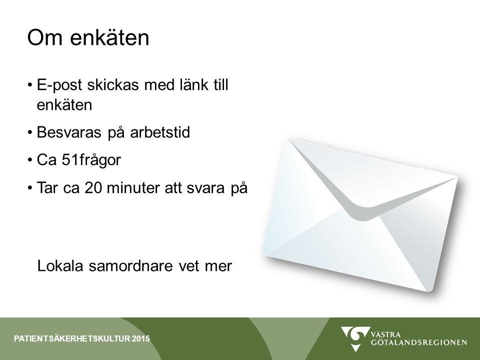 Om enkäten E-post skickas med länk till enkäten Besvaras på arbetstid Ca 51frågor Tar ca 20 minuter att svara på Lokala samordnare vet mer PATIENTSÄKERHETSKULTUR 2015