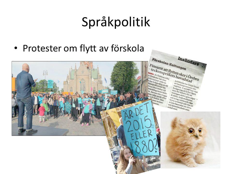 Språkpolitik Protester om flytt av förskola