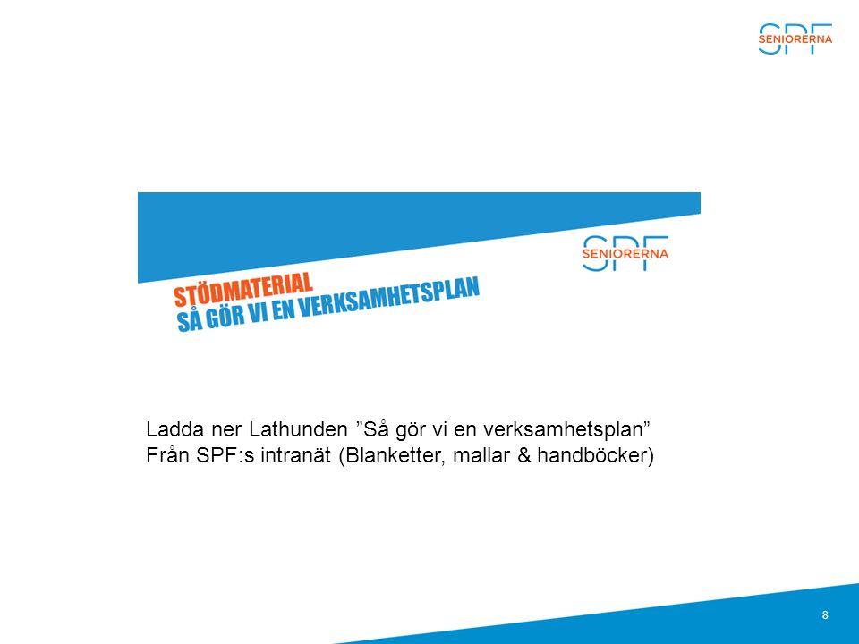 """8 Ladda ner Lathunden """"Så gör vi en verksamhetsplan"""" Från SPF:s intranät (Blanketter, mallar & handböcker)"""