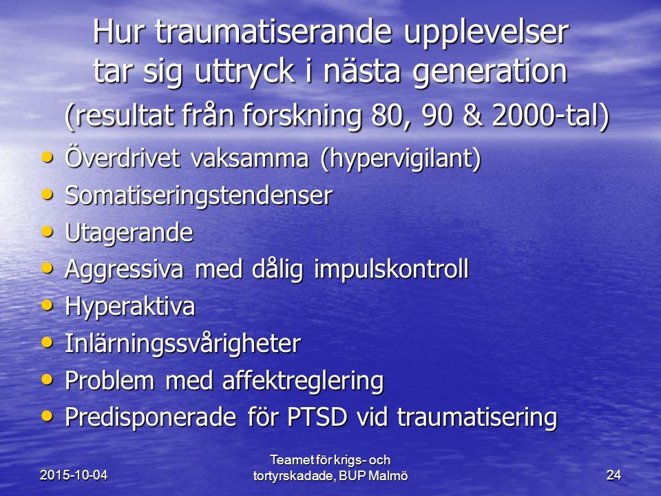 Teamet för krigs- och tortyrskadade, BUP Malmö 24 Hur traumatiserande upplevelser tar sig uttryck i nästa generation (resultat från forskning 80, 90 & 2000-tal) Överdrivet vaksamma (hypervigilant) Överdrivet vaksamma (hypervigilant) Somatiseringstendenser Somatiseringstendenser Utagerande Utagerande Aggressiva med dålig impulskontroll Aggressiva med dålig impulskontroll Hyperaktiva Hyperaktiva Inlärningssvårigheter Inlärningssvårigheter Problem med affektreglering Problem med affektreglering Predisponerade för PTSD vid traumatisering Predisponerade för PTSD vid traumatisering 2015-10-04