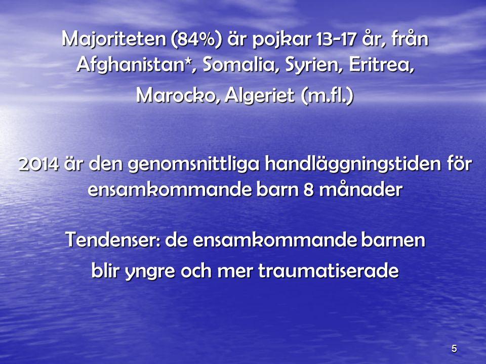 5 Majoriteten (84%) är pojkar 13-17 år, från Afghanistan*, Somalia, Syrien, Eritrea, Marocko, Algeriet (m.fl.) 2014 är den genomsnittliga handläggningstiden för ensamkommande barn 8 månader Tendenser: de ensamkommande barnen blir yngre och mer traumatiserade