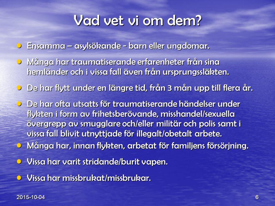 Teamet för krigs- och tortyrskadade, BUP Malmö 17 2015-10-04