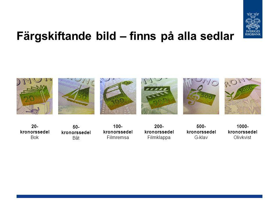 Färgskiftande bild – finns på alla sedlar 20- kronorssedel Bok 50- kronorssedel Båt 100- kronorssedel Filmremsa 200- kronorssedel Filmklappa 500- kronorssedel G-klav 1000- kronorssedel Olivkvist
